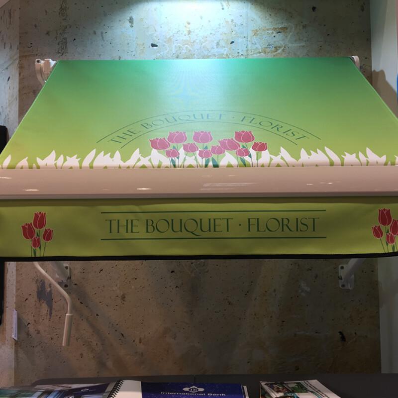 Coala Textile Outdoor Blind - Toepassing als zonneluifel bedrukt voor een bloemist