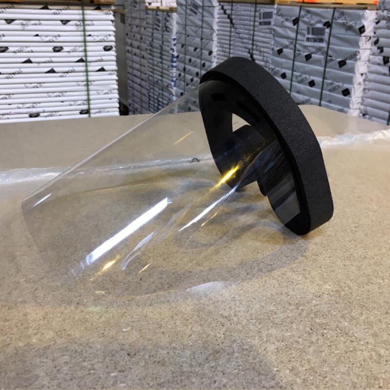 Transparant spatwaterdicht gezichtscherm met hoofdband van zwart schuim - gezien van de zijkant