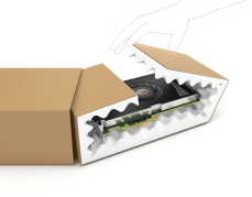 Verzendverpakking met schuimvoering voor breekbare producten